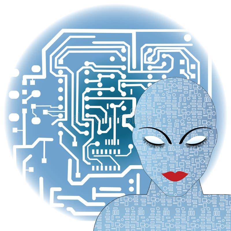 женский робот иллюстрация штока