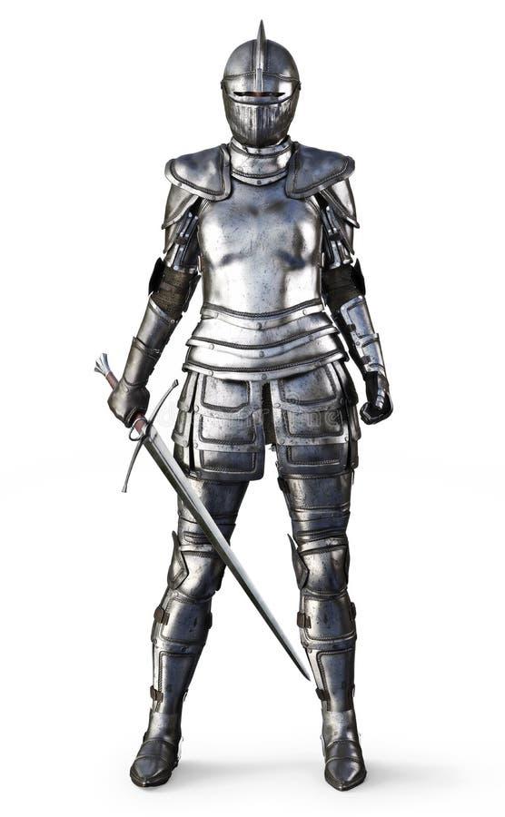 Женский рыцарь на изолированной белой предпосылке иллюстрация штока
