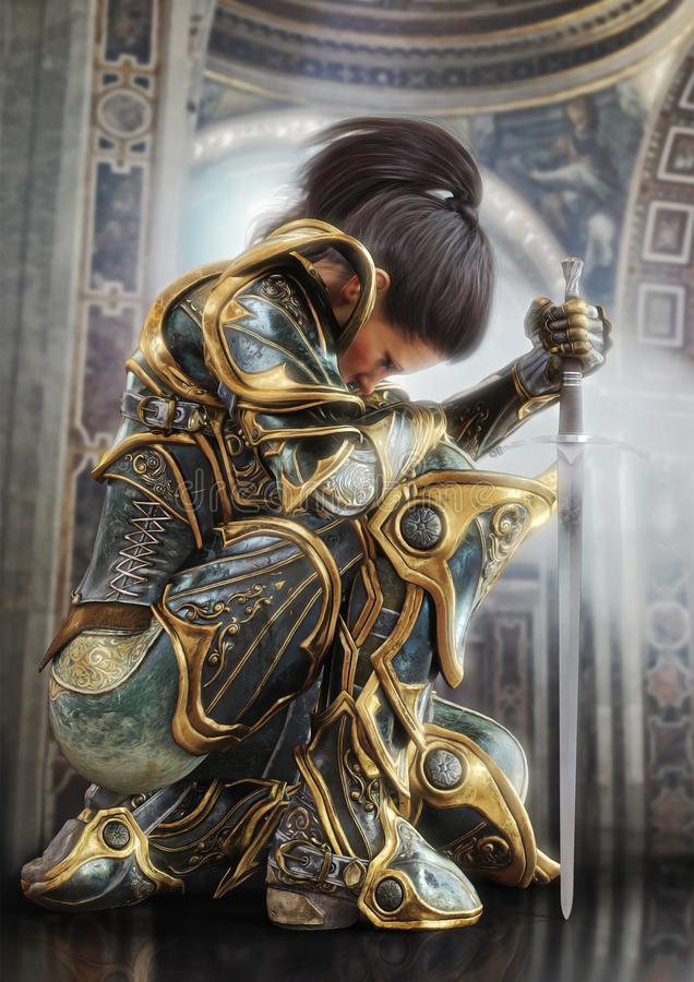 Женский рыцарь ратника вставать гордо нося декоративный орнаментальный панцырь иллюстрация вектора
