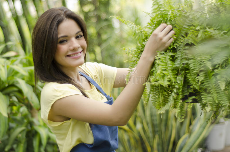 Женский садовник на работе стоковое фото rf