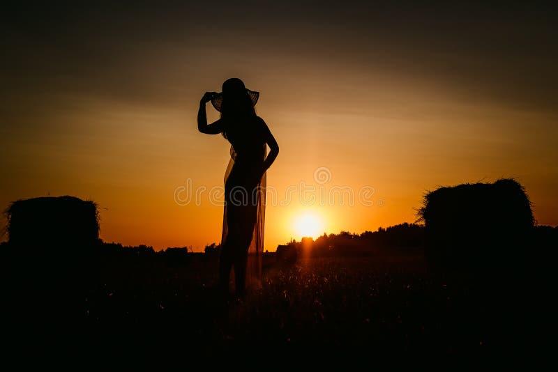Женский силуэт на заходе солнца стоковое фото rf