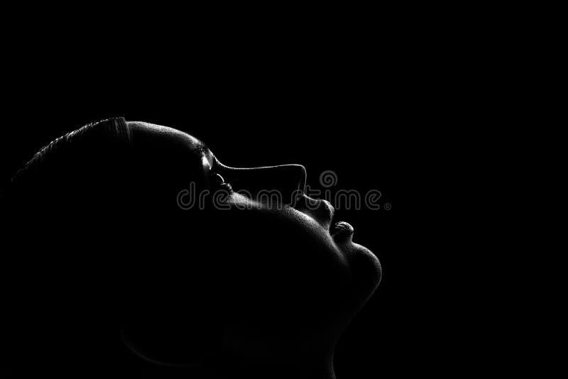Женский силуэт профиля стоковое изображение rf