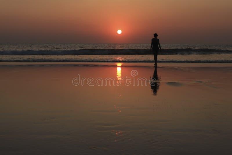 Женский силуэт на пляже на заходе солнца стоковые изображения rf