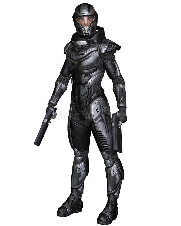 Женский солдат научной фантастики - стоящ иллюстрация вектора