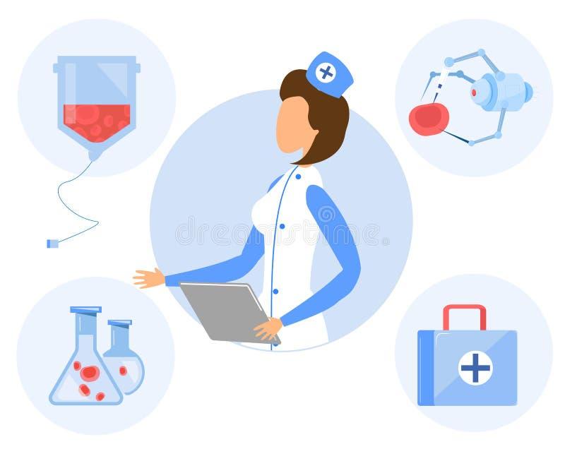 Женский специалист, медицина, химическое машиностроение иллюстрация штока