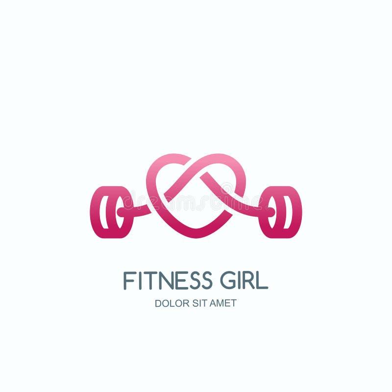 Женский спортзал фитнеса Vector логотип, значок или эмблема с розовой формой сердца штанги Дизайн для спортклуба женщины, разминк иллюстрация вектора