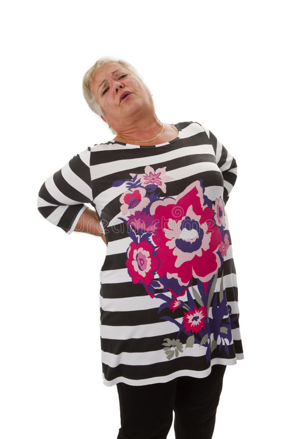 Download Женский старший с backache стоковое фото. изображение насчитывающей ухудшение - 33727578
