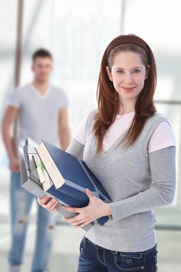 женский счастливый студент highschool стоковые фотографии rf
