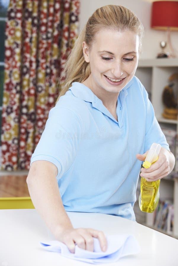 Женский уборщик работая в доме стоковые изображения rf