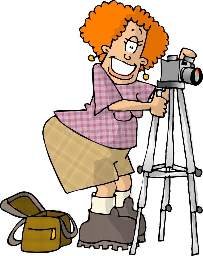женский фотограф иллюстрация вектора