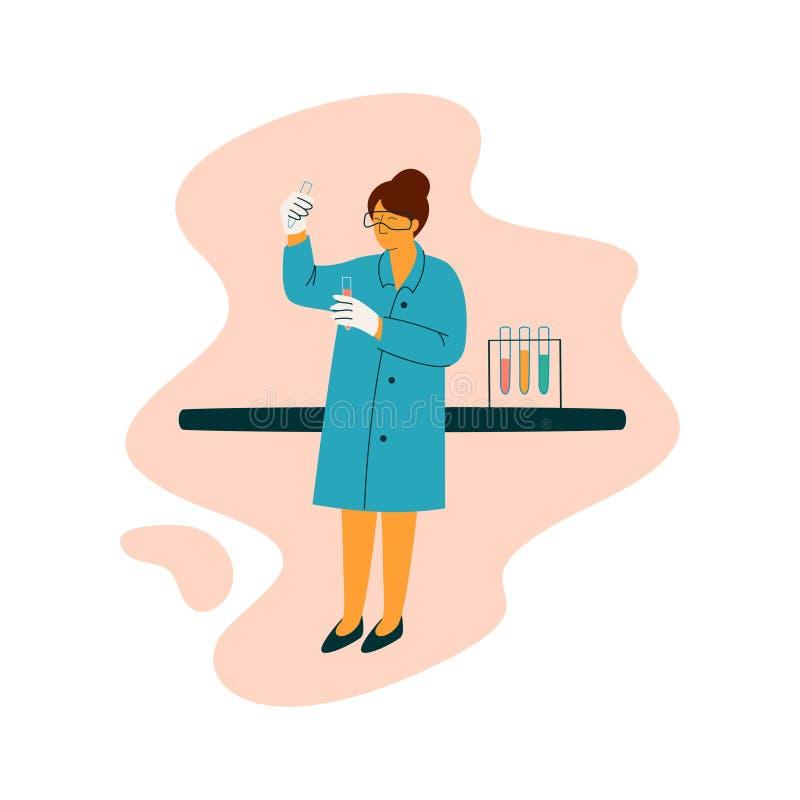 Женский характер техника ученого нося голубую деятельность на исслед иллюстрация вектора