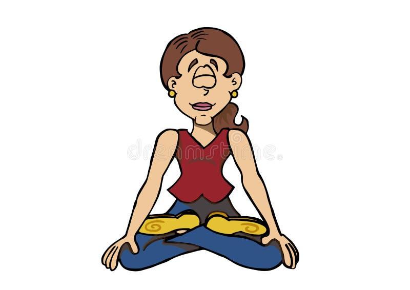 Женский характер Sophie сидя вниз практикуя раздумье иллюстрация вектора
