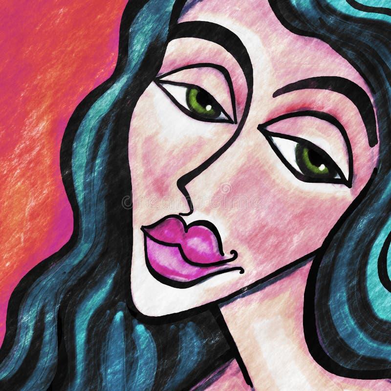 Женский чертеж портрета иллюстрация вектора