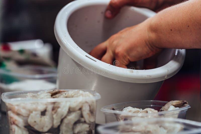 Женский шеф-повар кладя свежих креветок в пластмасовый контейнер - набор кухни стоковое изображение