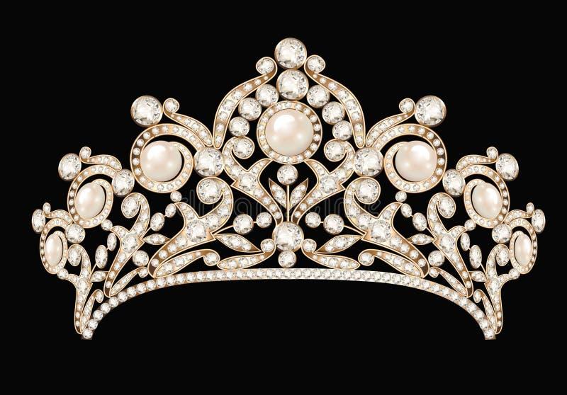 женский diadem свадьбы, крона, золото тиары с бесплатная иллюстрация