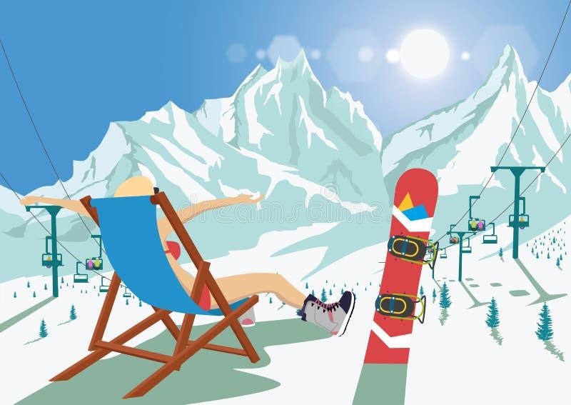 Женский snowboarder в бикини сидя в шезлонге ослабляя в лыжном курорте горы Яркий подъем стула солнца и лыжи бесплатная иллюстрация