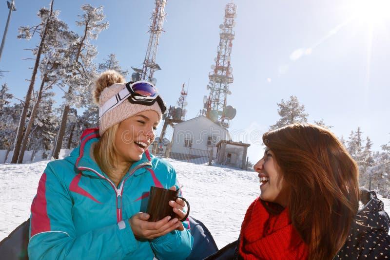 2 женских друз говоря и выпивая чай в кафе стоковые изображения