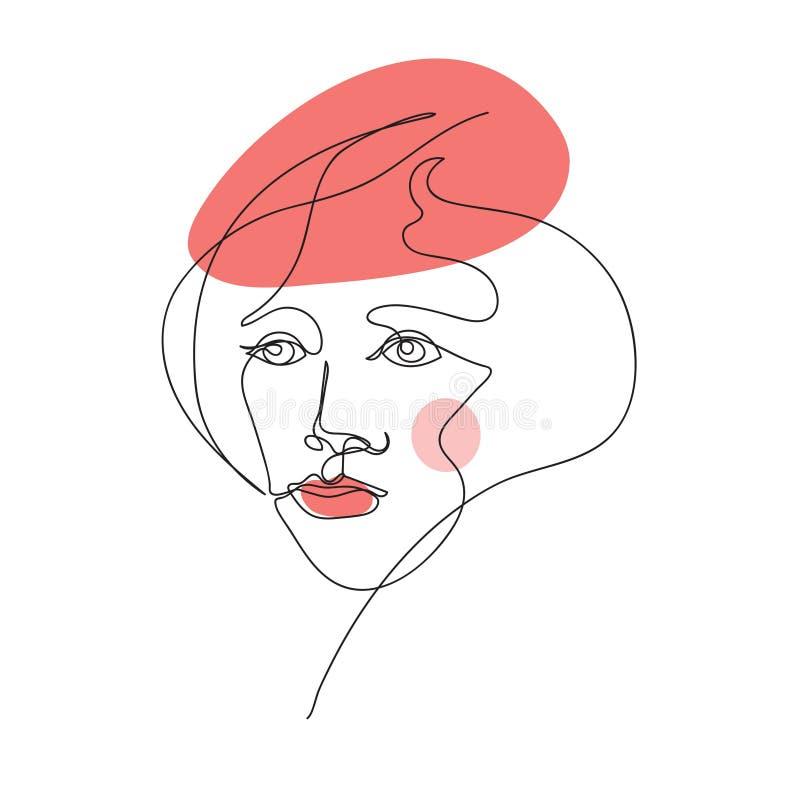 Женское лицо нарисовано в одной строке Женщина в коралловом берете Непрерывная линия иллюстрация вектора