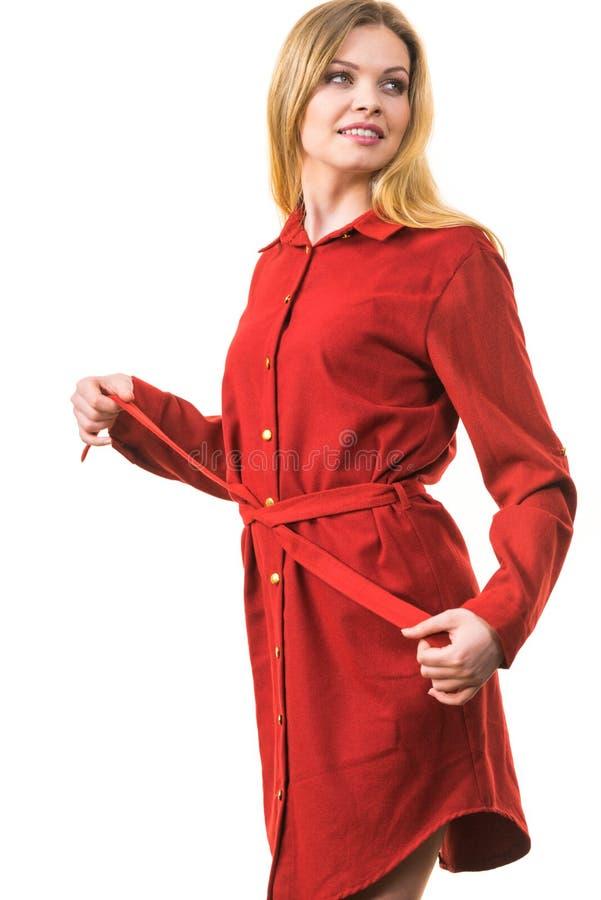 Женское нося случайное красное платье стоковое изображение