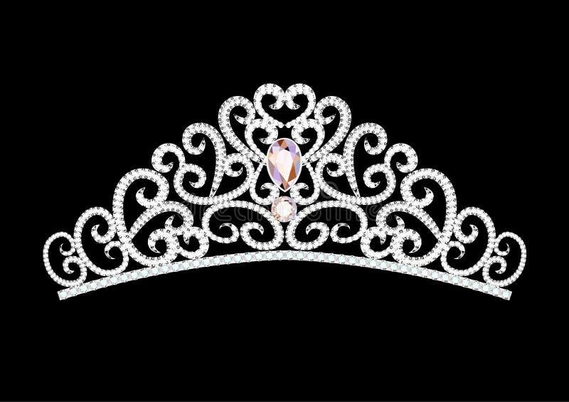 женственная крона diadem свадьбы на черноте иллюстрация вектора