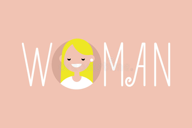 Женственная проиллюстрированная женщина знака Портрет белокурой девушки иллюстрация штока