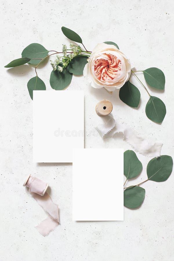 Женственная свадьба, сцена модель-макета дня рождения Поздравительные открытки чистого листа бумаги, ленты шелка, листья эвкалипт стоковые фотографии rf