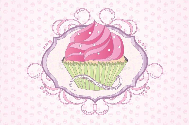 Женственный экран пирожного иллюстрация вектора