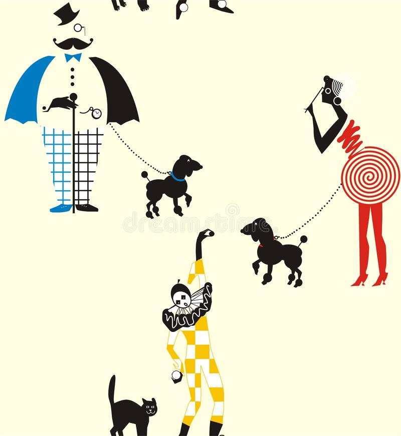джентльмен, дамы и арлекин прогулки потехи с собаками и кошками иллюстрация штока