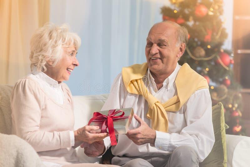 Женщина давая подарок рождества стоковое фото