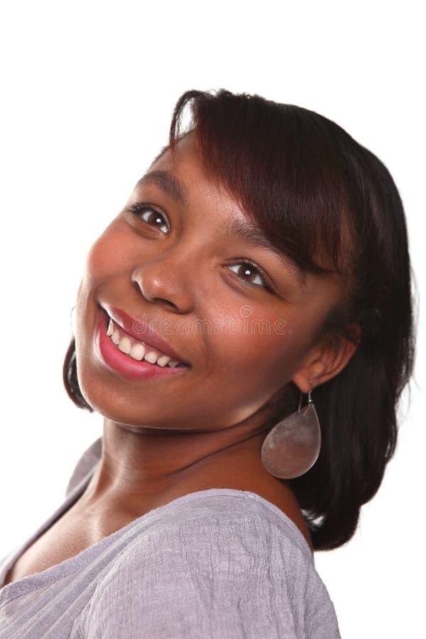 женщина афроамериканца красивейшая белая стоковая фотография rf
