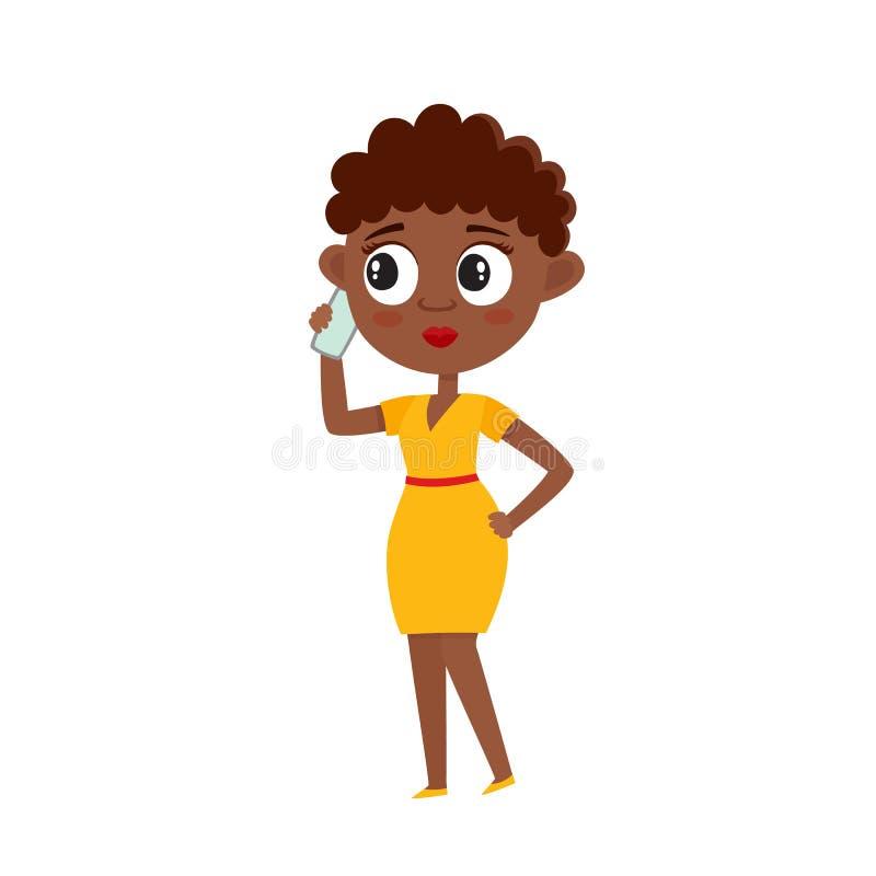 Женщина Афро американская со смартфоном изолированная на белизне иллюстрация штока