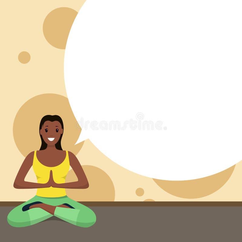 Женщина Афро американская счастливая делая дом спорта йоги иллюстрация штока
