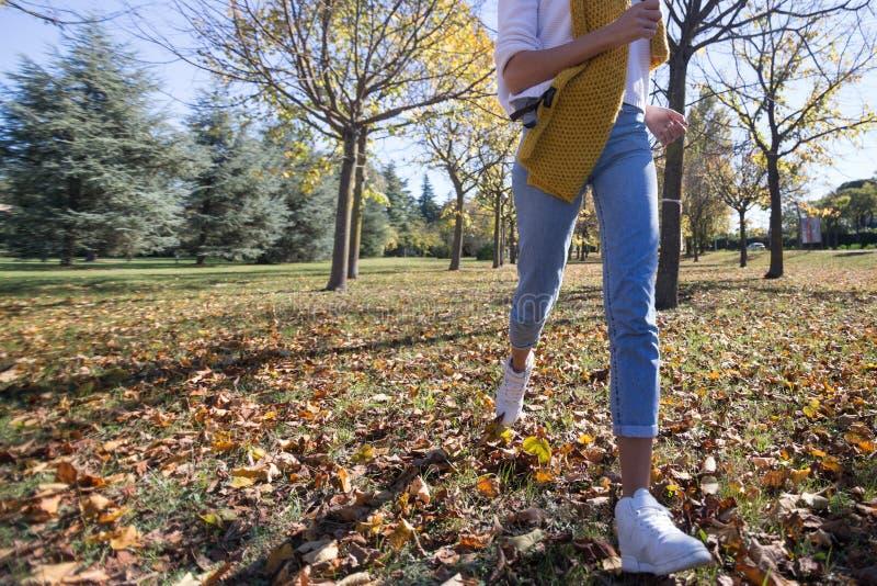 Женщина бежать в парке в осени девушка в джинсах в предпосылке природы стоковые изображения
