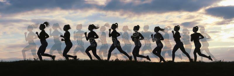 Женщина бежать на восходе солнца, бежать силуэты фитнеса, женский силуэт бегуна стоковое фото