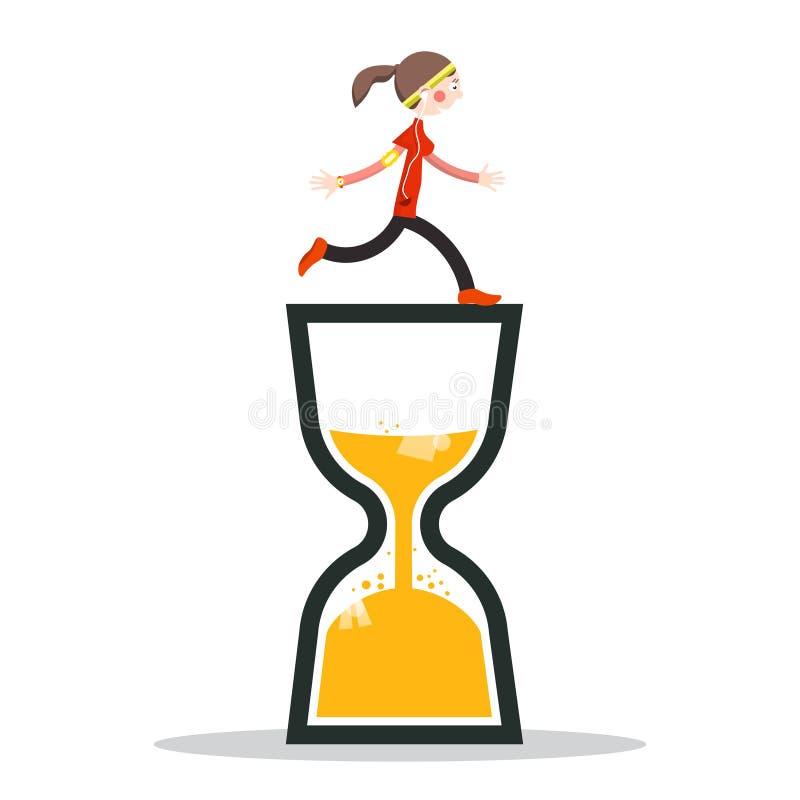 Женщина бежать на часах песка иллюстрация штока