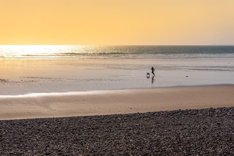 Женщина бежать с ее собакой на пляже стоковые фотографии rf