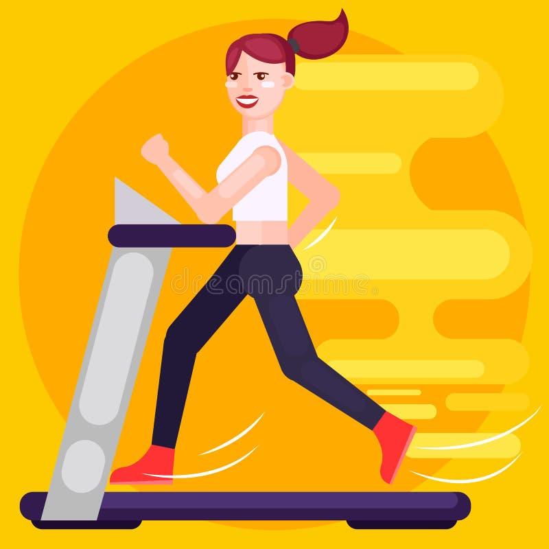 Женщина бежит на третбане скорость иллюстрация штока