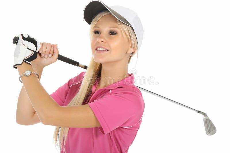 женщина белокурого гольфа симпатичная стоковая фотография rf