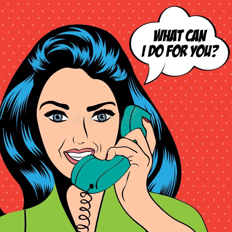 Женщина беседуя на телефоне, иллюстрация искусства шипучки иллюстрация штока