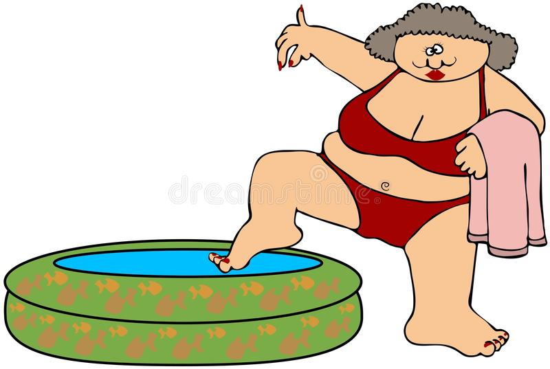 женщина бикини пухлая иллюстрация вектора