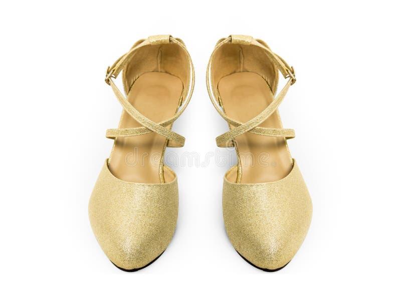 Женщина ботинок высоких пяток золота для моды Красивый роскошный Высоко-накрененный ботинок, вид спереди Пара высокой пятки в све стоковое изображение rf