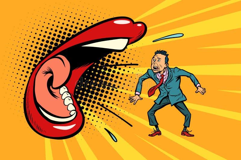 Женщина бранит человека иллюстрация вектора