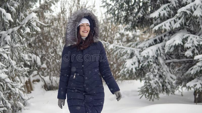 Женщина брюнет идя вдоль следа в лесе зимы стоковые фото