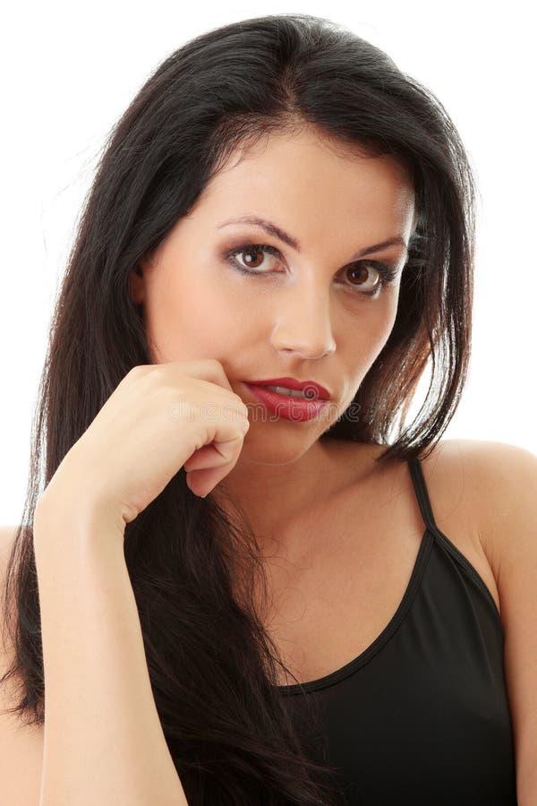 женщина брюнет милая стоковая фотография