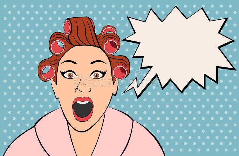 Женщина брюнет ретро кричащая иллюстрация вектора