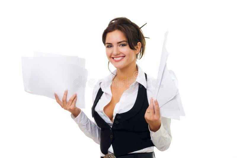 женщина бумаги владением документов дела стоковое фото