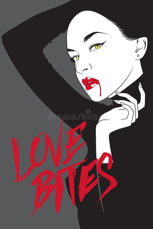 Женщина вампира вектора в noir стиле комиксов иллюстрация вектора