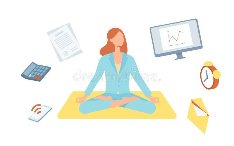Женщина вектора милая делая йогу в позиции лотоса иллюстрация вектора