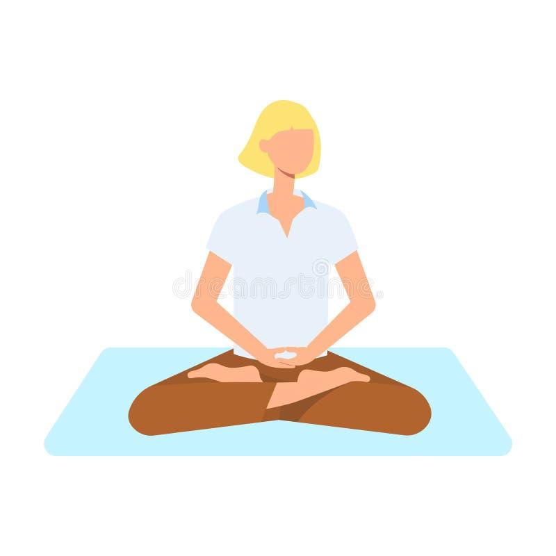 Женщина вектора милая делая йогу в позиции лотоса бесплатная иллюстрация