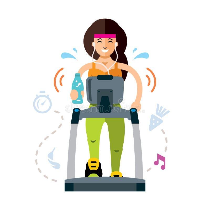 Женщина вектора милая бежать на третбане Дама фитнеса sporty разрабатывая Иллюстрация шаржа плоского стиля красочная бесплатная иллюстрация